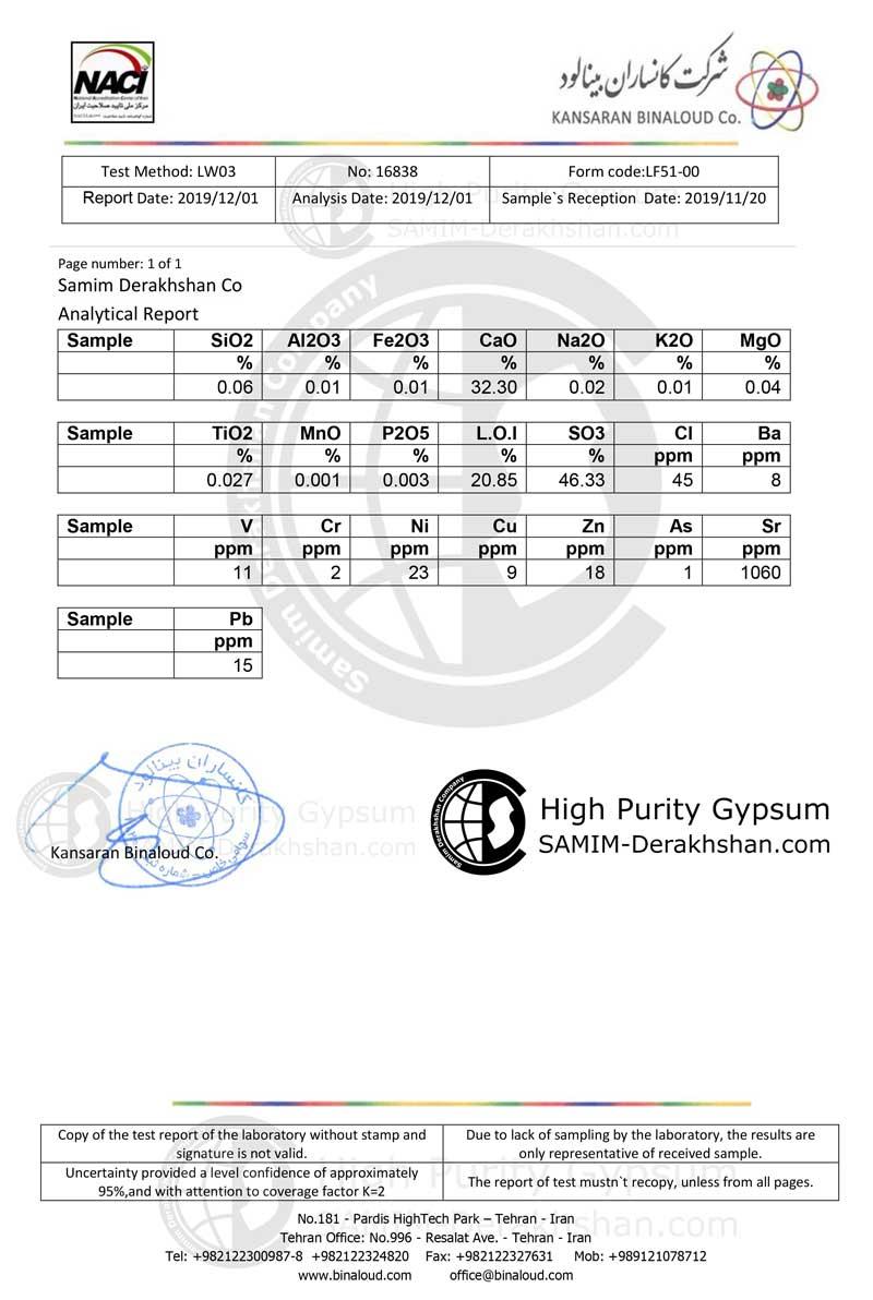 جدول آنالیز سنگ گچ صمیم درخشان